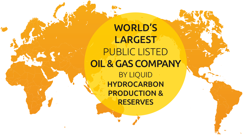 The world's largest public listed oil & gas company by liquid hydrocarbon production & reserves